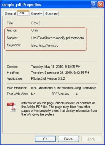 Edit Pdf MetaData Info