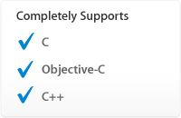 Completely Supports: C, Objective-C, C++